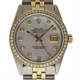 Rolex Datejust 16013 Stainless Steel and Yellow Gold with White Mother of Pearl Diamond Dial Vintage 36mm Mens Watch