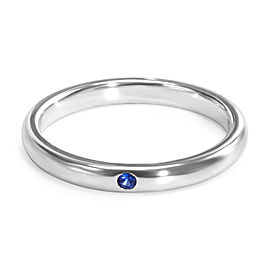 Tiffany & Co. Elsa Peretti 925 Sterling Silver with Blue Sapphire Band Ring Size 7.5
