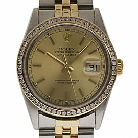 Rolex Datejust 16013 Stainless Steel and Yellow Gold with Champagne Dial 36mm Mens Watch