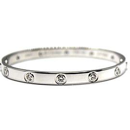 Cartier Love Bracelet 18k White Gold 10 Diamonds Size 16