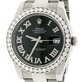 Rolex Datejust II 41MM Oyster 116300 w/Roman Diamond Dial & Bezel Box Papers