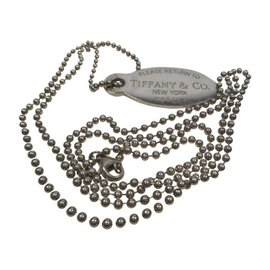 "Tiffany & Co. ""Return to Tiffany"" Large Oval Dog Tag Beaded Necklace"