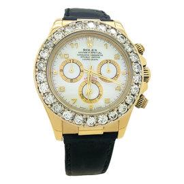 Rolex Daytona 116518 18K Yellow Gold & Leather with 5.00ct Diamond Automatic 40mm Mens Watch