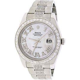 Rolex Datejust II 41MM Oyster 116300 w/MOP Diamond Dial, Bezel & Bracelet Papers