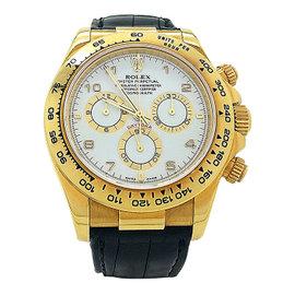 Rolex Daytona 116518 18K Yellow Gold Leather 40mm Automatic Mens Watch