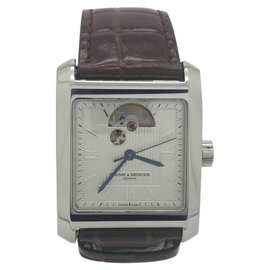 Baume & Mercier Hampton 65577 Stainless Steel & Leather Automatic 34mm Mens Watch