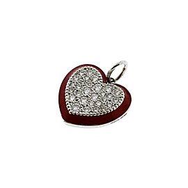 Tiffany & Co. Red Enamel & Platinum Diamond Heart Charm Pendant