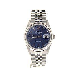 Mens Rolex Stainless Steel Datejust Blue 16220