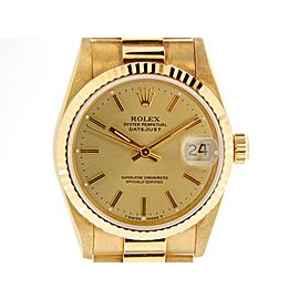 Mid Size Rolex 18K Yellow Gold Datejust President Champagne 68278