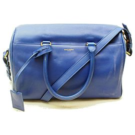 Saint Laurent 12 Hour Duffel with Strap 872879 Blue Leather Weekend/Travel Bag