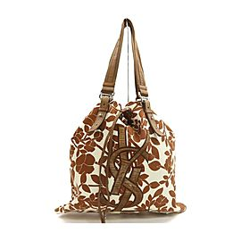 Yves Saint Laurent Brown Floral Leaf Kahala Tote Bag 863428