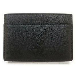 Saint Laurent Black YSL Monogram Logo Leather Card Holder Wallet Case 861788
