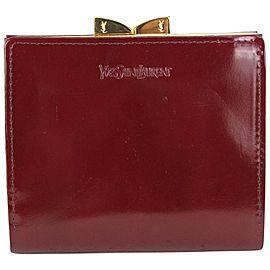 Saint Laurent Burgundy Patent Leather Kisslock coin Pouch Wallet 2YSL823