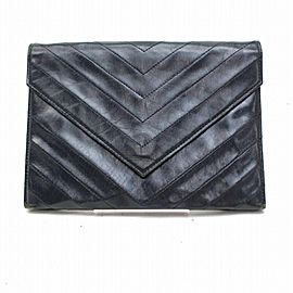 Saint Laurent Navy Blue Chevron Quilted Enevelop 869993 Black Leather Clutch