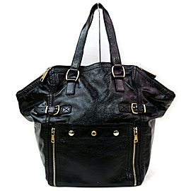 Saint Laurent Downtown 872000 Ysl Patent Leather Black Enamel Tote