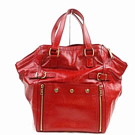 Saint Laurent Downtown 872347 Ysl Patent Leather Reds Enamel Tote