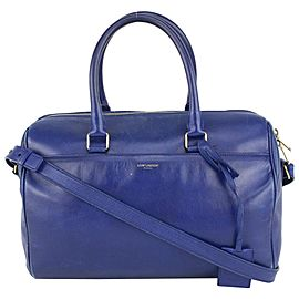 Saint Laurent Blue 6 Hour Leather Duffle with Strap 240ysl716