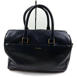Saint Laurent 12 Hour Duffle Bag Navy Blue Leather 872735