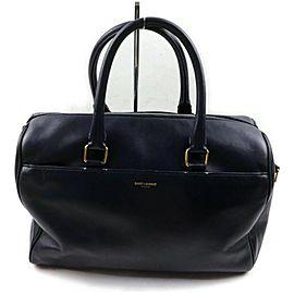 Saint Laurent 12 Hour Duffle Bag Navy Blue Leather 872735