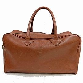 Saint Laurent Brown Leather Luggage Duffle 855874