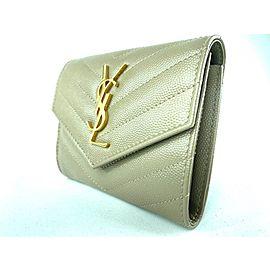 Saint Laurent Monogramme Small Grain de Poudre Tri-Fold Wallet Dusty Grey 1YSL911
