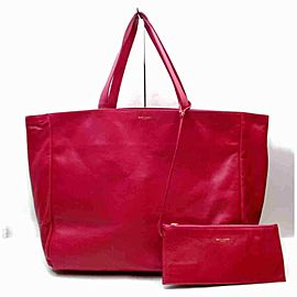 Saint Laurent East-west Shopper Hot with Pouch 860028 Pink Leather Tote