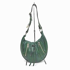 Saint Laurent Hobo Ysl Rive Gauche Zip 860077 Green Leather Shoulder Bag