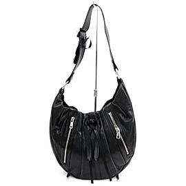 Saint Laurent Hobo Ysl Zip 872572 Black Leather Shoulder Bag