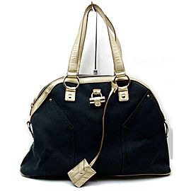 Saint Laurent Muse Gold Dome 872390 Navy Blue Canvas Tote