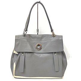 Saint Laurent YSL Grey Leather Muse Two Shoulder bag 863014