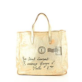 Saint Laurent Gold Metallic Leather Y Mail Large Tote Bag 45ysl122