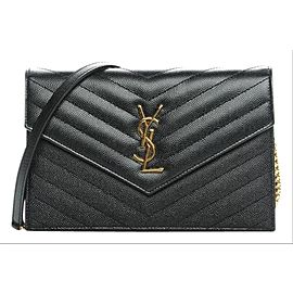 Saint Laurent Wallet on Chain Grey Dark Quilted Gold 1ysl78 Charcoal Leather Cross Body Bag