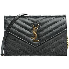 Saint Laurent Wallet on Chain Grey Dark Quilted Gold 860004 Charcoal Leather Cross Body Bag