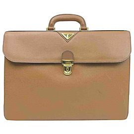 Saint Laurent Ysl Logo Attache Briefcase 860051 Brown Leather Satchel