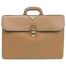 Saint Laurent Ysl Logo Attache Briefcase 860051 Brown Leather Satchel