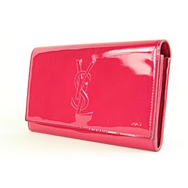 Saint Laurent Pink Patent Leather YSL Logo Belle de Jour Wallet 16ysl1230