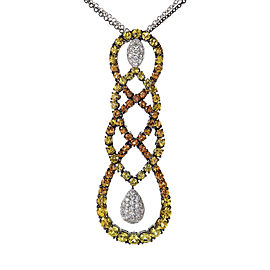 Salavetti 18K White Gold Multi Sapphire and Diamond Necklace
