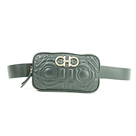 Salvatore Ferragamo Belt Gancini Quilted Fanny Pack Waist Pouch 11fk1230 Black Leather Cross Body Bag