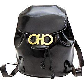 Salvatore Ferragamo Gancini Logo 228043 Black Patent Leather Backpack