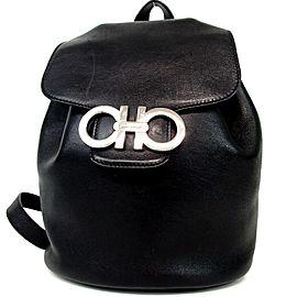 Salvatore Ferragamo Gancini Logo Mini Backpack Black Leather Bookbag 860480