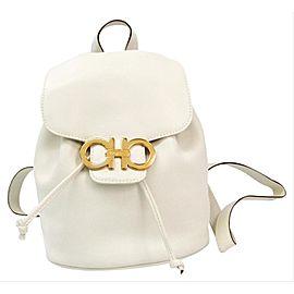 Salvatore Ferragamo Ivory Leather Gold Gancini Logo Mini Backpack 860724
