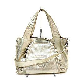 Salvatore Ferragamo Gold Leather 2way Tote Bag 863215