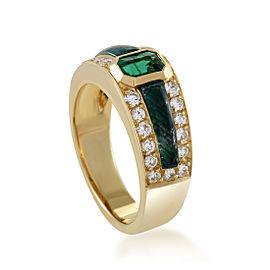 Scavia 18K Yellow Gold Diamond and Emerald Band Ring Size 6.75