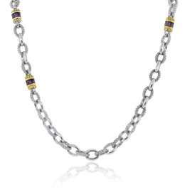 Judith Ripka 925 Sterling Silver and 18K Yellow Gold Amethyst Necklace