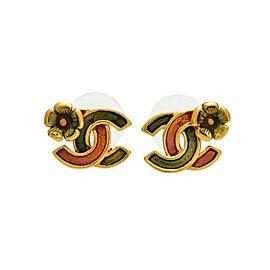 Chanel CC Logo Gold Tone Metal Flower Double C Stud Earrings