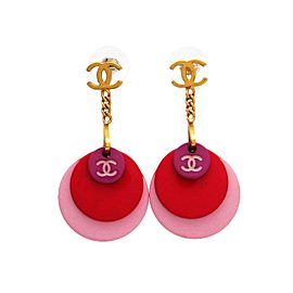 Chanel CC Logo Gold Tone Metal Pink Charms Dangle Stud Earrings