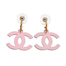 Chanel Gold Tone Metal White Pink CC Logo Dangle Stud Earrings