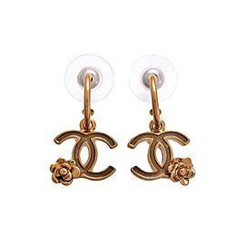 Chanel CC Logo Gold Tone Metal Flower Dangle Stud Earrings