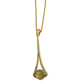 Rodney Rayner 18K Yellow Gold Lime Quartz, Garnets & Diamonds Pendant Necklace