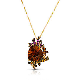 Le Vian Certified Pre-Owned Crazy Collection Caramel Quartz, Chocolate Quartz Cinnamon Citrine, Spessartite, and Raspberry Rhodolite pendant set in 14k Honey Gold